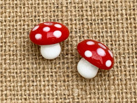 Red toadstool mushroom beads
