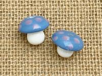 Blue toadstool mushroom beads