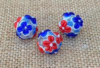 1 | Red White & Blue Round Flower Lampwork Beads