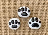 1 | Black Paw Print Lampwork Glass Beads