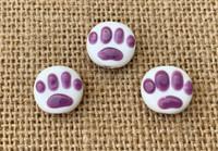 1 | Purple Paw Print Lampwork Glass Beads