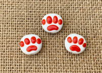 1 | Red Paw Print Lampwork Glass Beads