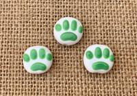 1 | Green Paw Print Lampwork Glass Beads
