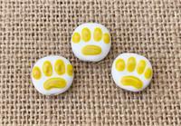 1 | Yellow Paw Print Lampwork Glass Beads