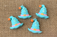 1 | Boo Witch Hat Flat Back Cabochon - Blue