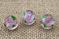 1 | Pink Rose Round Lampwork Beads