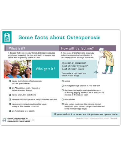 Osteoporosis Tearpad (50 sheets per pad) (260A) - front side