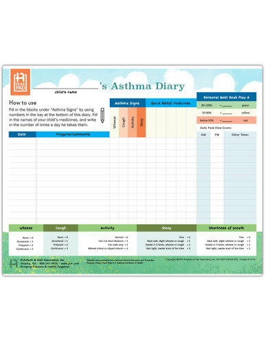 Ped Asthma Diary Tearpad (50 sheets per pad) (311A) - front side