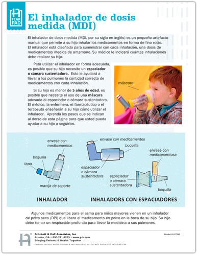 Spanish Pediatric Asthma MDI Use Tear Sheet (275AS) - front side