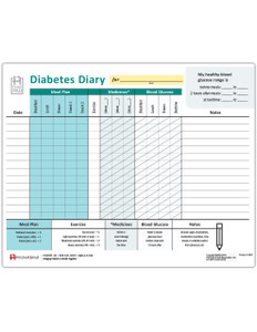 Diabetes Management Diary Tearpad (50 sheets per pad)