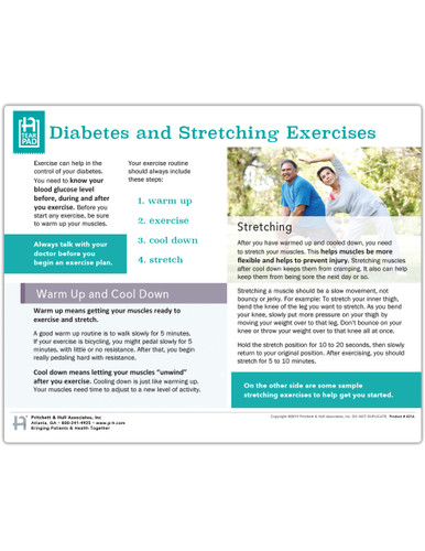 Diabetes Stretching Exercises Tearpad (50 sheets per pad) (421A) front side
