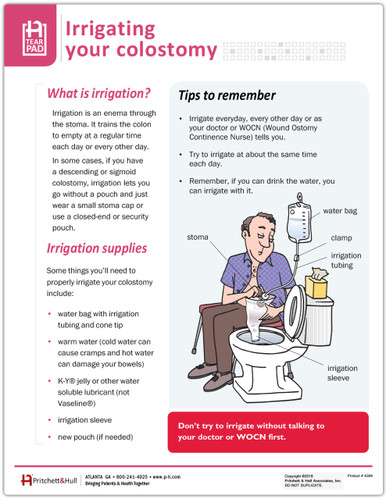 Irrigating Your Colostomy Tearpad- front side