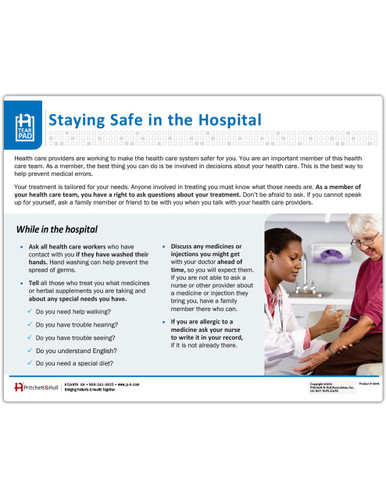 Patient Safety tearpad - front side
