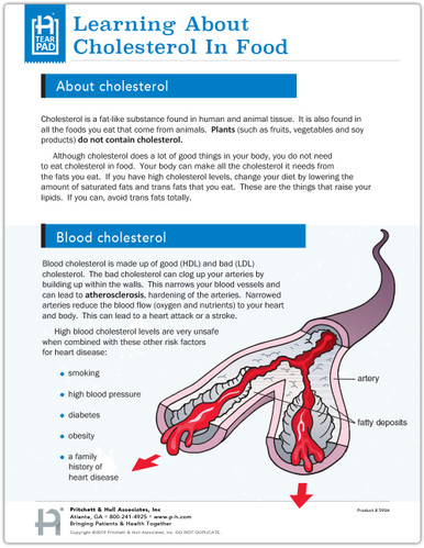 Learning About Cholesterol in Food Tear Sheet (593A) -front side