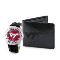 Virginia Tech Hokies NCAA Mens Leather Watch and Wallet Gift Set