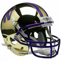 Washington Huskies NCAA Gold Chrome Mini Authentic Helmet
