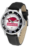 Arkansas Razorbacks Competitor Leather Watch White Dial