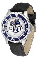 Brigham Young Cougars Competitor Leather Watch White Dial