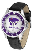Kansas State Wildcats Competitor Leather Watch White Dial