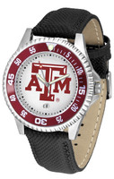 Texas A&M Aggies Competitor Leather Watch White Dial