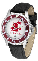Washington State Cougars Competitor Leather Watch White Dial