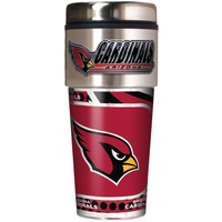 Arizona Cardinals 16oz Travel Tumbler with Metallic Wrap Logo
