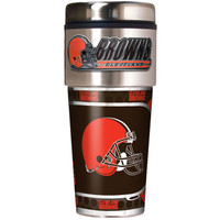Cleveland Browns 16oz Travel Tumbler with Metallic Wrap Logo