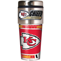 Kansas City Chiefs 16oz Travel Tumbler with Metallic Wrap Logo