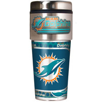 Miami Dolphins 16oz Travel Tumbler with Metallic Wrap Logo