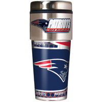 New England Patriots 16oz Travel Tumbler with Metallic Wrap Logo