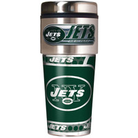 New York Jets 16oz Travel Tumbler with Metallic Wrap Logo