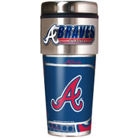Atlanta Braves 16oz Travel Tumbler with Metallic Wrap Logo
