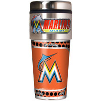 Miami Marlins 16oz Travel Tumbler with Metallic Wrap Logo