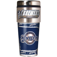 Milwaukee Brewers 16oz Travel Tumbler with Metallic Wrap Logo