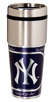 New York Yankees 16oz Travel Tumbler with Metallic Wrap Logo