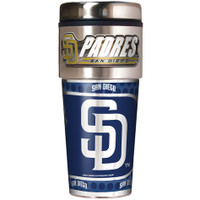 San Diego Padres 16oz Travel Tumbler with Metallic Wrap Logo