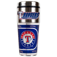 Texas Rangers 16oz Travel Tumbler with Metallic Wrap Logo
