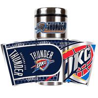 Oklahoma City Thunder 16oz Travel Tumbler with Metallic Wrap Logo