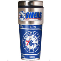 Philadelphia 76ers 16oz Travel Tumbler with Metallic Wrap Logo