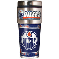 Edmonton Oilers 16oz Travel Tumbler with Metallic Wrap Logo