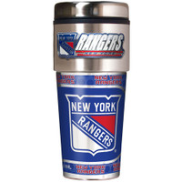 New York Rangers 16oz Travel Tumbler with Metallic Wrap Logo