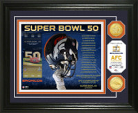 **Denver Broncos 2015 AFC Champions 2pc Gold Coin Photo Mint LE 2,016