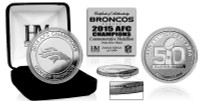 **Denver Broncos Official NFL Super Bowl 50 2015 AFC Champions Silver Coin w/Case
