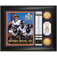 ***Denver Broncos Super Bowl 50 Champions 2pc Gold Coin Banner Photo Mint LE
