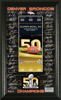 ***Denver Broncos Super Bowl 50 Champions Signature Ticket Framed LE