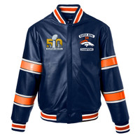 ***Denver Broncos Super Bowl 50 Champions Full Leather Jacket - Navy