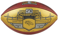 Denver Broncos Super Bowl 50 Gold Champions Wilson Leather Football LE