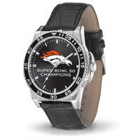 ****Denver Broncos Super Bowl 50 Champions Leather Watch