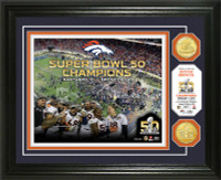 ***Denver Broncos Super Bowl 50 Champions Celebration 2pc Gold Coin Photo Mint LE