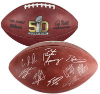 ***Denver Broncos Team Authentic Autographed Wilson Super Bowl 50 Pro Football with Multiple Signatures - Limited Edition of 50